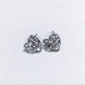 Betsey Johnson - Silver Rhinestone Heart Earrings